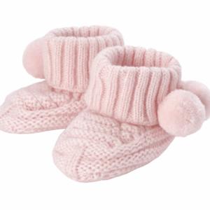 Pink Pom Pom Knit Booties