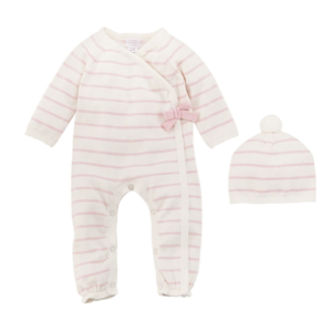 Ivory Pink Stripe Knitted Set