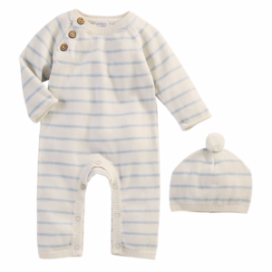 Ivory and Blue Stripe Knitted Set