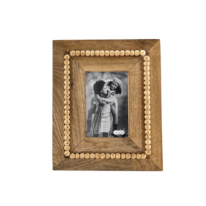 beaded wood rectangle frame